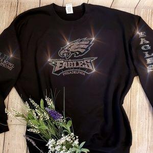 New Rhinestone Philadelphia Eagles Crewneck